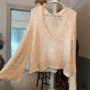 Free people white bell sleeved sweater